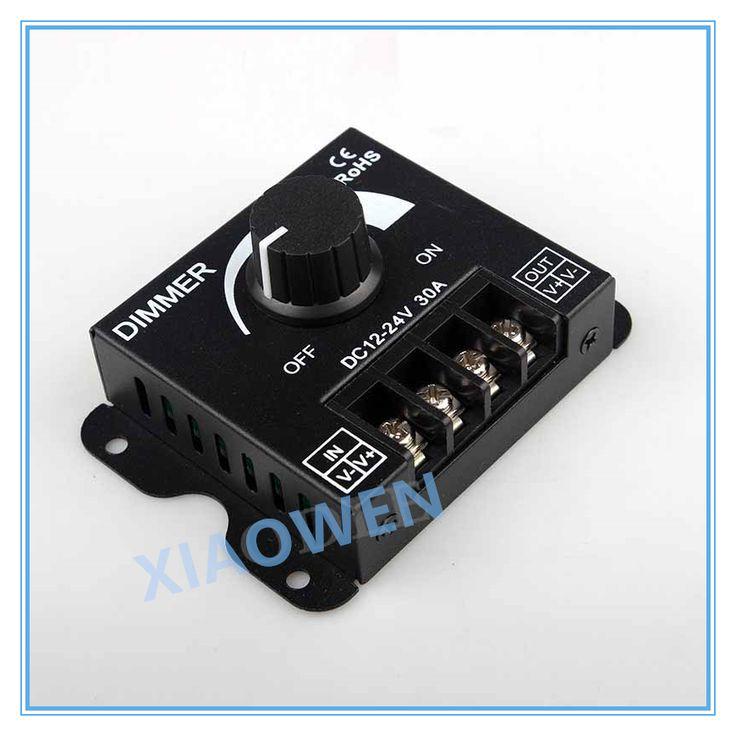 LED Dimmer DC 12 V 24 V 30A 360 W Adjustable Brightness Lampu Bulb Jalur Driver Tunggal Warna Cahaya Power Supply Controller 5050 3528