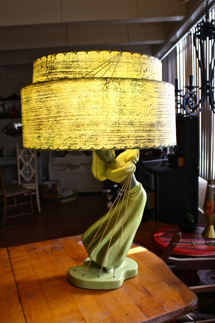 Glass mermaid sitting on conch shell accent lamp eclectic table lamps - Chartreuse Reglor Chalkware Lamp