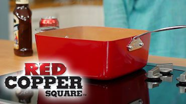 Red Copper Square Pan   Official Site   All-Purpose Copper & Ceramic Square Pan With Double The Cooking Space!