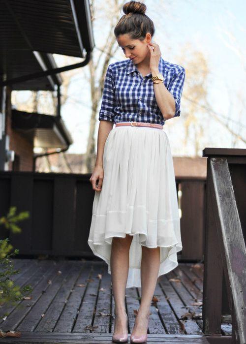 black skirt - plait shirt - brown belt and pumps