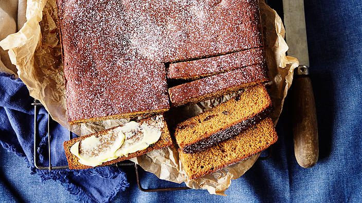 In Britain, treacle is the generic name used to describe most sugar syrups, from golden syrup to the dark and sticky black treacle, known as molasses here. The strong, sweet syrup adds a dense texture to this dark gingerbread cake.
