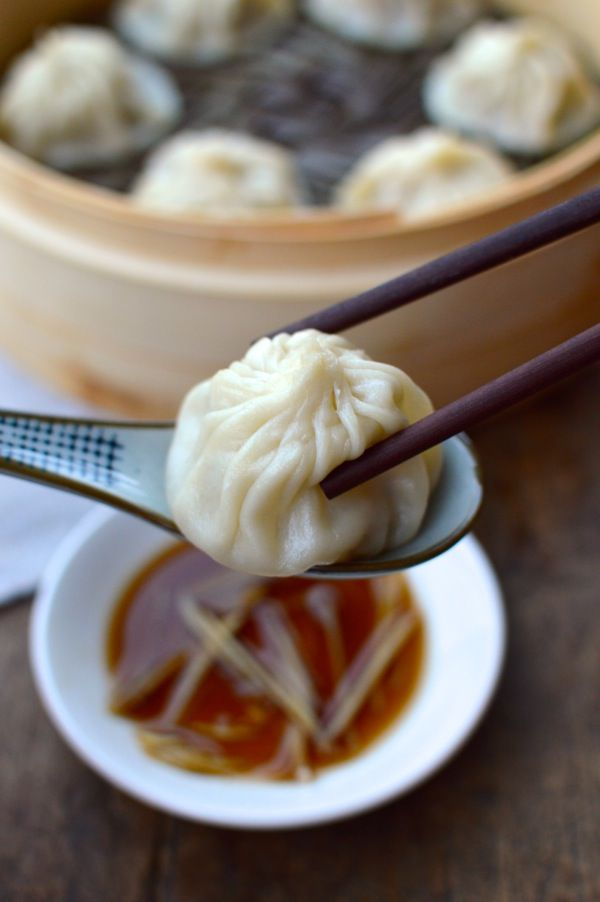 Shanghai Steamed Soup Dumplings (Xiaolongbao), by thewoksoflife.com