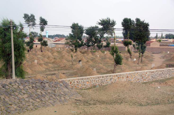 Chinese begraafplaats in de buurt van Datong, China