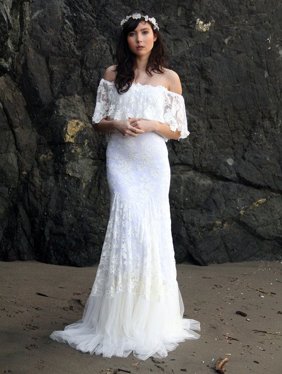 Off The Shoulder Lace Bohemian Wedding Dress By