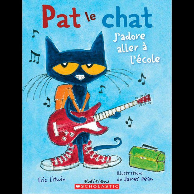 Pat le chat : J'adore aller à l'école—Pat le chat va à l'école avec ses quatre belles chaussures neuves! Il se rend à la bibliothèque pour la première fois, mange à la cafétéria, s'amuse au terrain de jeu et revient en autobus. Il adore aller à l'école! Un album amusant, qui visite les principaux lieux d'une journée d'écolier type. De 4 à 8 ans. Pat le chat : J'adore aller à l'école, d'Éric Litwin, illustrations James Dean, Éditions Scholastic, 2014, 10,99$