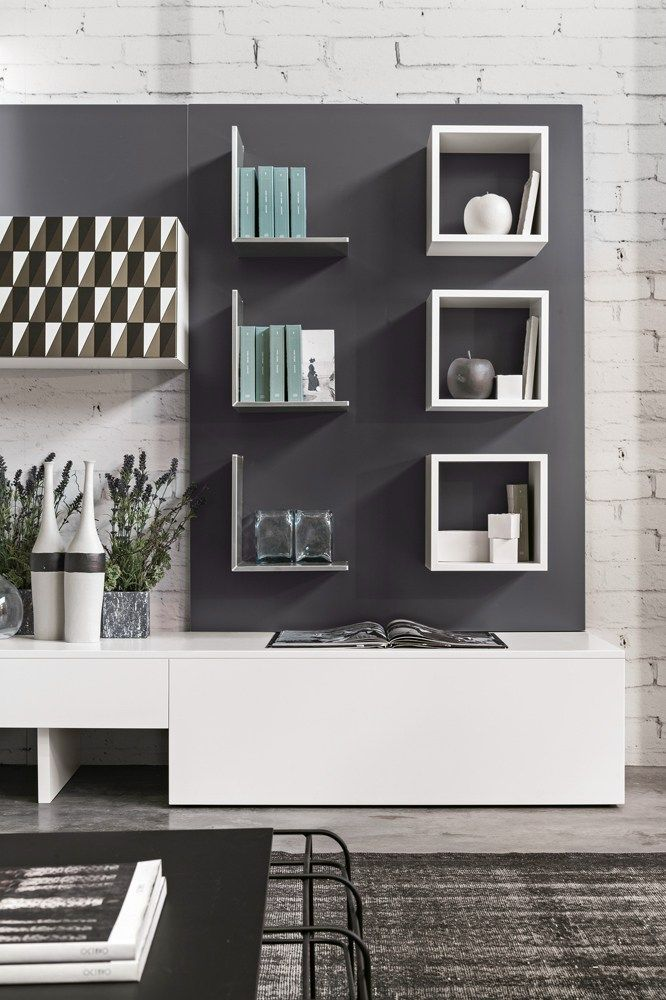 Contemporary style sectional wooden storage wall MAGNETIKA LIVING M01 by Ronda Design @rondadesignsrl