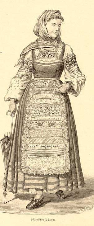 Print of a Russian women in Traditional dress Sarafan in 19 century. Sarafan is sleeveless and Russian women often combine it with an long sleeve inside. I love Russian women 's gentle beauty and when they wear this kind of costume, although they maybe look fatter but they don't care about it because family just is the most important like Vietnamese women