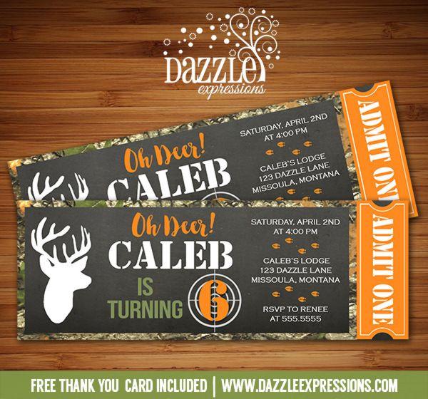 Printable Chalkboard Hunting Ticket Birthday Invitation
