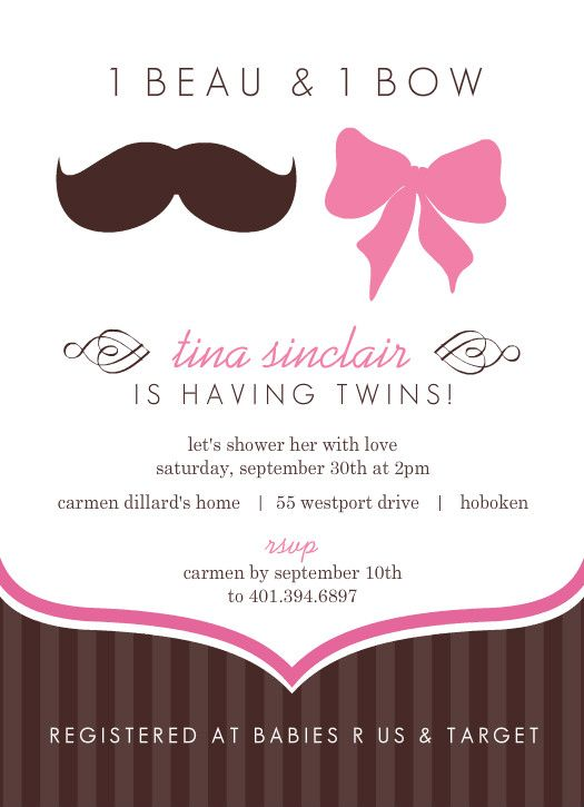 mustache and bow twin baby shower invitation by