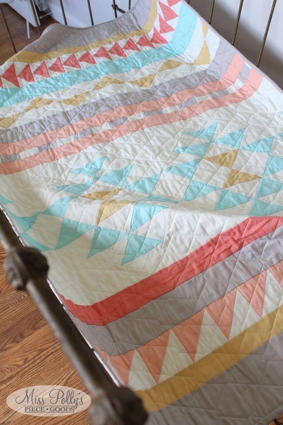 Baby Crib Bedding Crib Quilt Baby Quilt by MissPollysPieceGoods