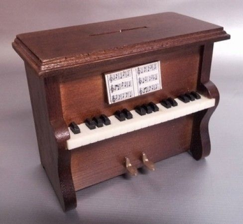 Piano piggy bank wood