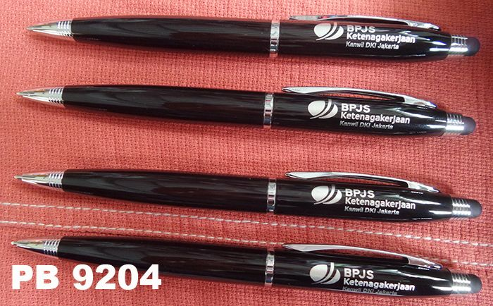 PB 9204: A metal twist pen plus stylus ordered by BPJS Ketenagakerjaan Kanwil DKI Jakarta, (Badan Penyelenggara Jaminan Sosial Kantor Wilayah - Indonesian Employment Social Security Agency Jakarta Branch Office-) Jakarta Indonesia