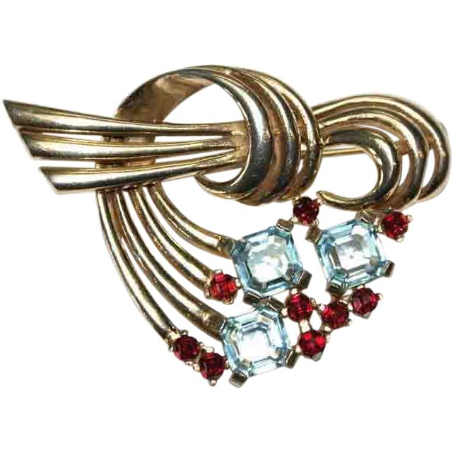 #217 Boucher Deco Faux Ruby Swirl Pin Exclusively at Lee Caplan Vintage Collection on RubyLane