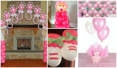 decoração com balão para chá de fraldas de menina