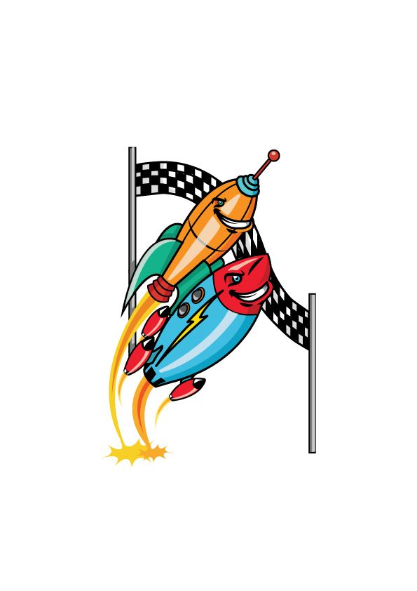 Racing Rockets made for an English textbook called Tiddly Link 5 by Marcelle Versteeg.