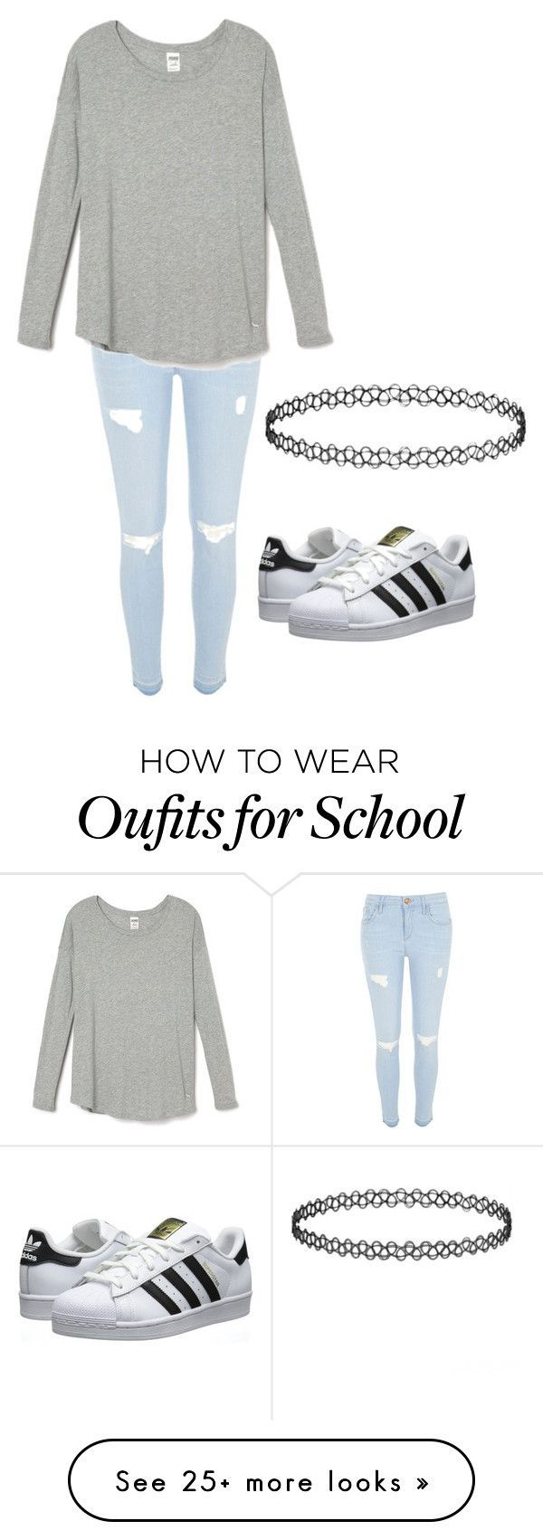 """""""school"""" by gabby-angelone on Polyvore featuring River Island, adidas Originals, women's clothing, women's fashion, women, female, woman, misses and juniors"""