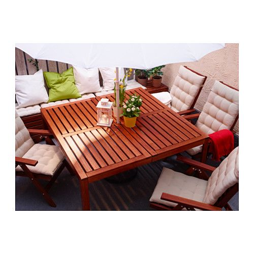 $150 1.5x (ikea hack, cut in half & recombine with legs from another table. ÄPPLARÖ Table, outdoor  - IKEA