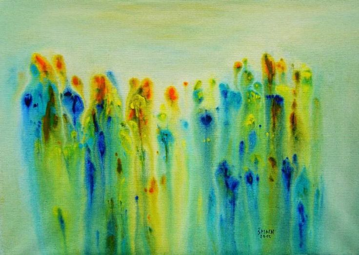Buy Composition PM315, a Acrylic on Canvas by Radek Smach from Czech Republic. It portrays: Nature, relevant to: relax, blue, turquoise, yellow, fine art, contemporary, expressionism, abstract, flowers, meadow, modern, nature This is an original abstract painting on canvas.  Framed, Ready to hang.