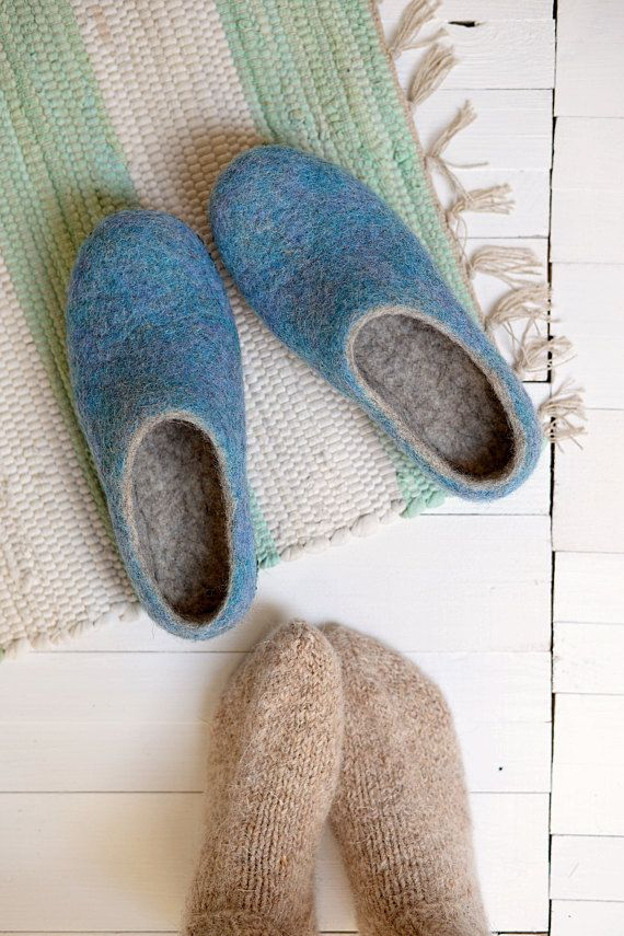 9130d9c025d0d Wool home shoes from natural wool, blue color felt slippers | Felted ...