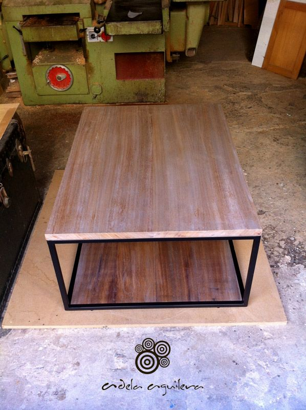 Mesa para exterior madera de iroko estructura hierro - Mesa de madera exterior ...
