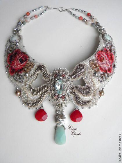 Neckpiece by Russian beader Olga Orlova. Bead embroidery, peyote stitch bezels…