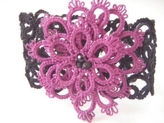 Tatted Bracelet with Purple Flower by Blackvintagekitty on Etsy