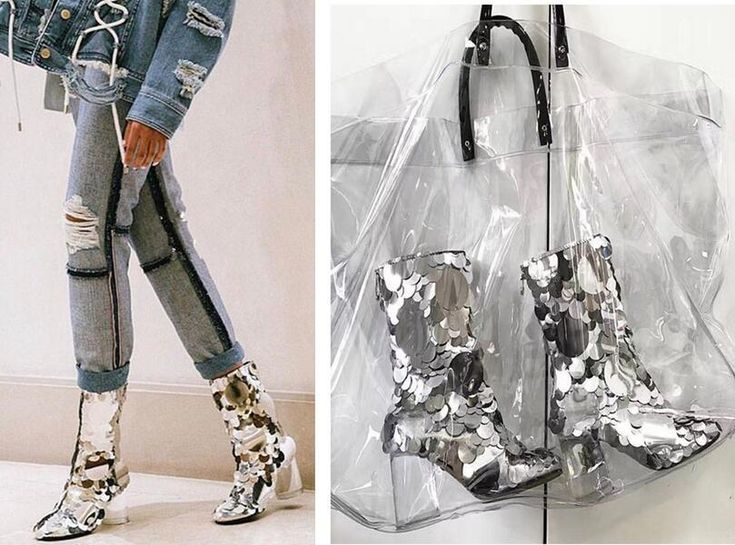 Fashion Womens High End Sequins Silver Chunky Heel Ankle Boots Shoes Ziper Hot