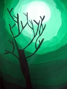 The different shades of green help separate the light of the moon from the hills and separates the different layers of hills.