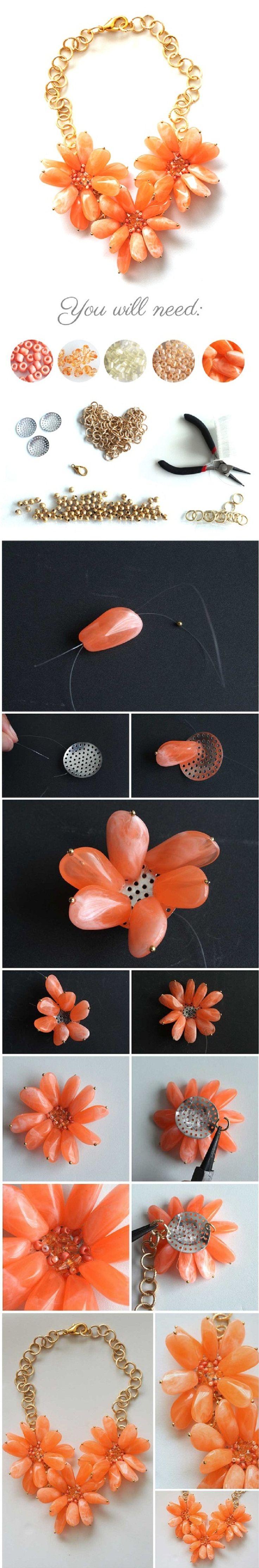Diy Orange Flower Statement Necklace
