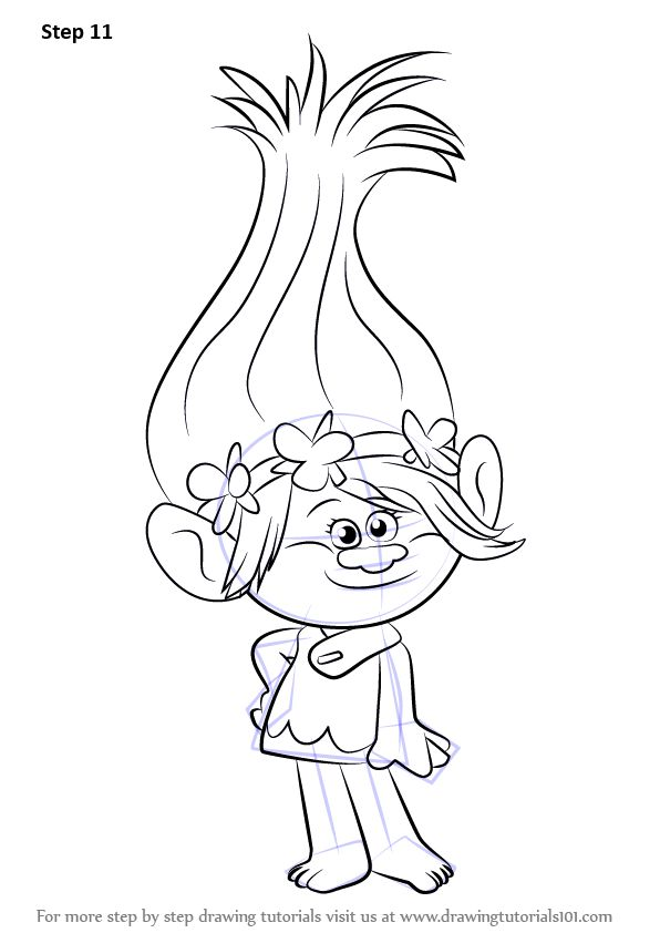 Learn How to Draw Princess Poppy from Trolls (Trolls) Step by Step : Drawing Tutorials