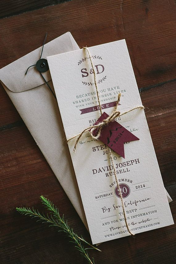 wedding invite wordings india%0A Letterpress Wedding Invitation  Floral and Rustic Big Sur inspired