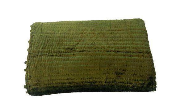 Velvet And Cotton Quilt Olive Green Ivory Blanket Pick