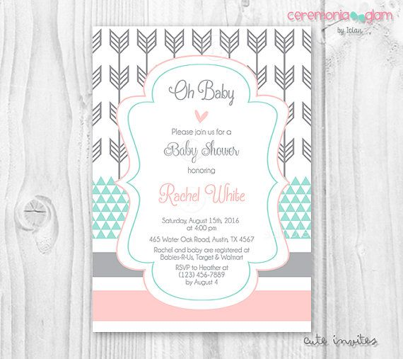 Baby shower coral color aqua mint and grey arrow by ceremoniaGlam