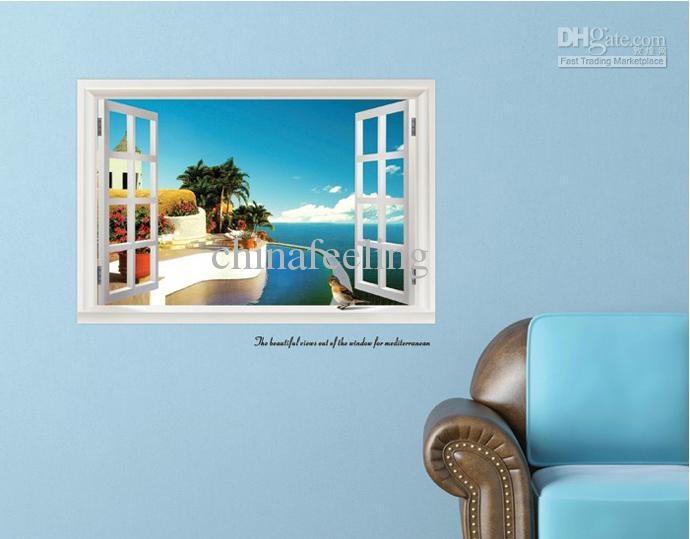 Mediterranean windows wall sticker seascape scenery wall papers ocean beach summer style wall sticker 60*90cm free shipping US $5.23 - 6.27 / Piece