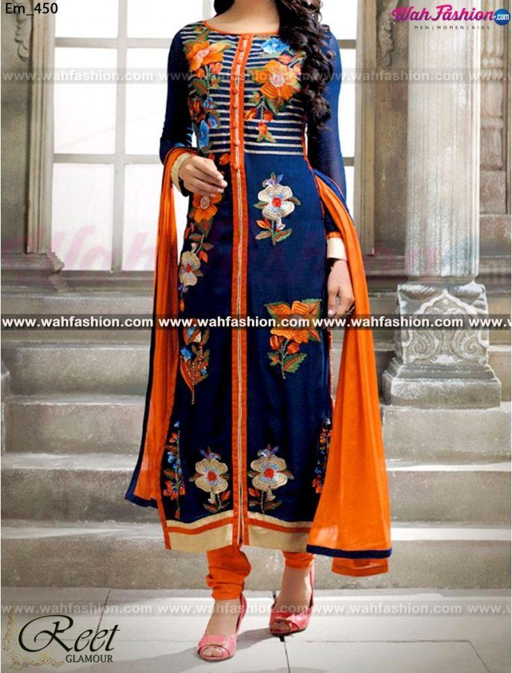 Mesmeric MidNight Blue And Orange Churidar Suit