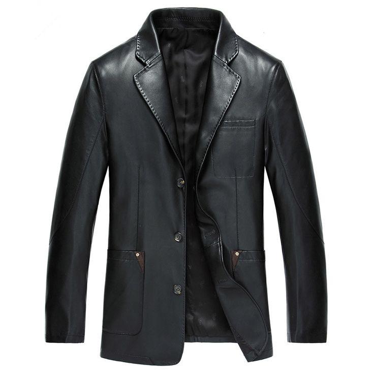 2017 sahte koyun deri ceket sonbahar erkekler faux deri elbise ince blazer ceket siyah kahverengi Ml Xl XXL | 32826344479_he