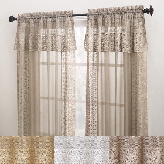 Elegant Bonnie Sheer Window Curtain With Macrame Trim Window Curtain With Attached  Valance Annas Linens
