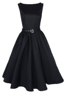 BLACK VINTAGE 1950's AUDREY HEPBURN STYLE SWING PARTY ROCKABILLY EVENING DRESS.