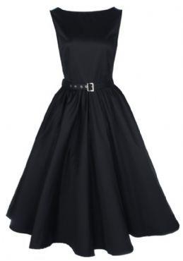 BLACK VINTAGE 1950's AUDREY HEPBURN STYLE SWING PARTY ROCKABILLY EVENING DRESS