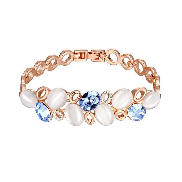 Розы украшения горячая распродажа розового золота синий кристалл Bracelets из опал камень и горный хрусталь для женщины геометрическая браслет и браслеты