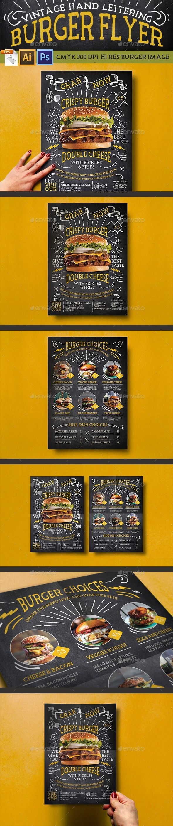 Vintage Hand Lettering Burger Flyer  #badge menu #print design #burger menu • Click here to download ! http://graphicriver.net/item/vintage-hand-lettering-burger-flyer/16105285?ref=pxcr                                                                                                                                                                                 Más