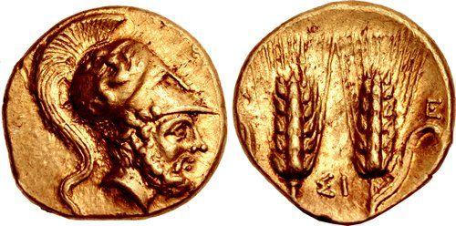 CNG: The Coin Shop. LUCANIA, Metapontion. Circa 280-279 BC. AV Tetrobol – Third Stater (13mm, 2.87 g, 12h). Attic standard.