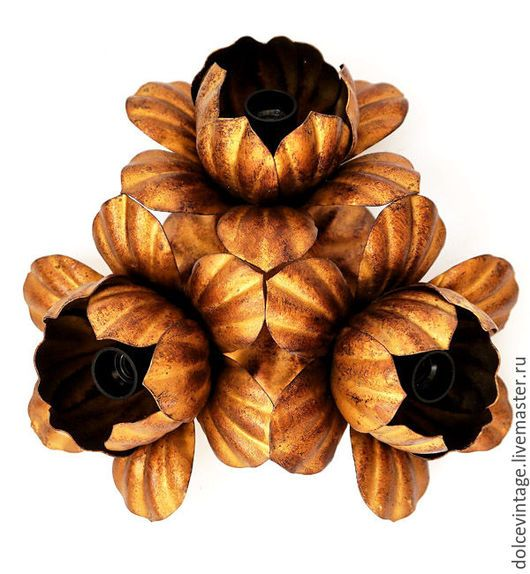 Антикварная люстра флорентийской ковки `Золотые цветы`,Италия.