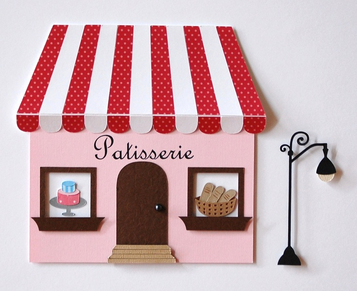 French Bakery Kids Wall Decor Parisian Theme French Decor Matted Art Childrens Room Decor Pink and Red French Patisserie