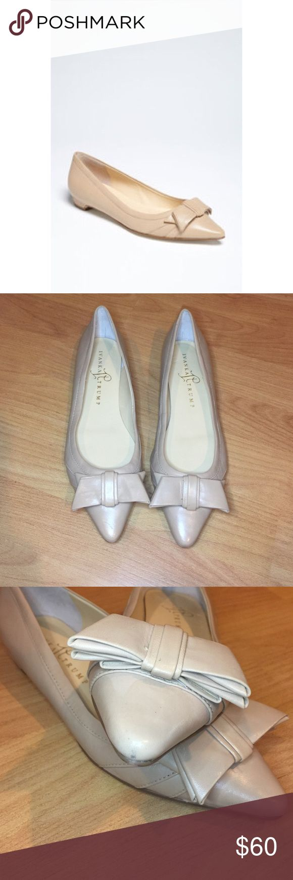 """[Ivanka Trump] •Tan Leather Pointed Flats• Layered leathers sweep into a bow atop a darling pointy-toe flat. Leather upper/synthetic lining/rubber sole. Fits true to size. Tan/Beige color. Style: """"Itabello"""" - Gently worn, good condition, minor scuffs (see third photo). Size 6W. Ivanka Trump Shoes Flats & Loafers"""