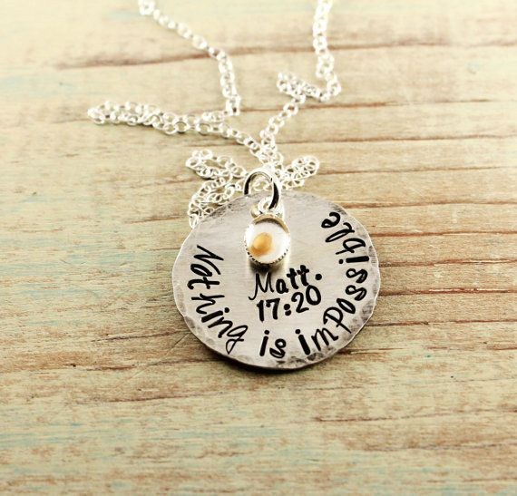 Gift for godmother   Mustard seed necklace - Hand stamped sterling silver - Matthew 17 20 - Faith of mustard seed - Bible verse necklace - Nothing is impossible, $55.00