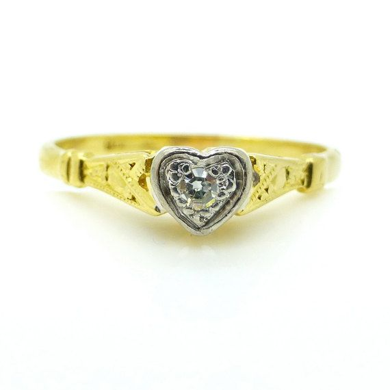 Vintage engagement ring Sweet Heart shape by vintagejewelbox