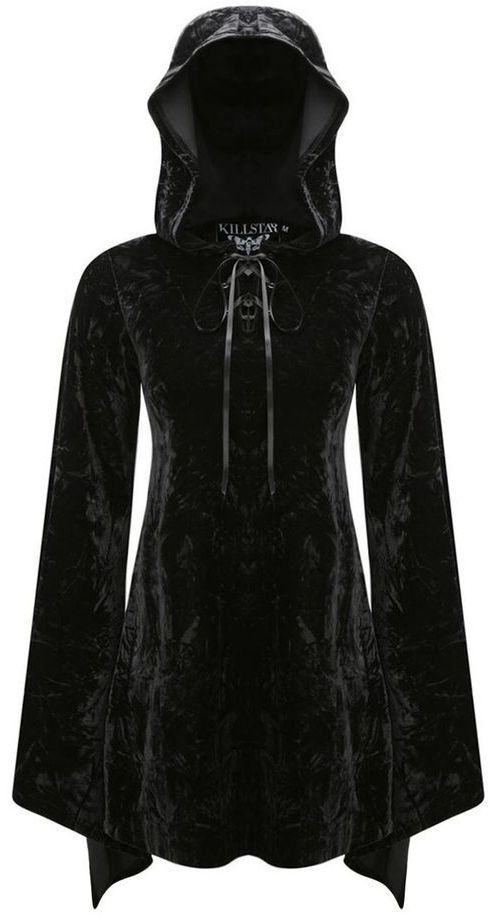 hooded *witch* dress in black velvet <3