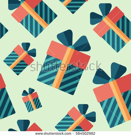Birthday gift flat icon seamless pattern. #vectorpattern #patterndesign #seamlesspattern