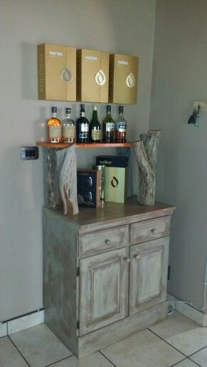 Raw wooden shelf+ cabinet.
